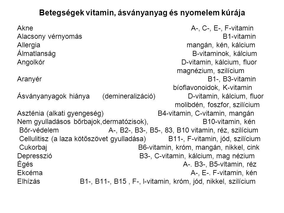Betegségek vitamin, ásványanyag és nyomelem kúrája