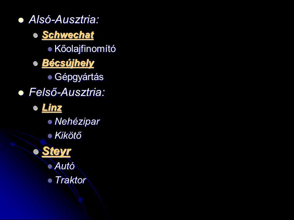 Alsó-Ausztria: Felső-Ausztria: Steyr Schwechat Kőolajfinomító