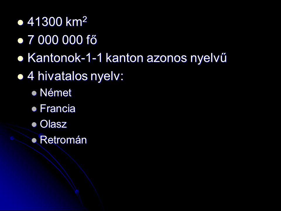 Kantonok-1-1 kanton azonos nyelvű 4 hivatalos nyelv: