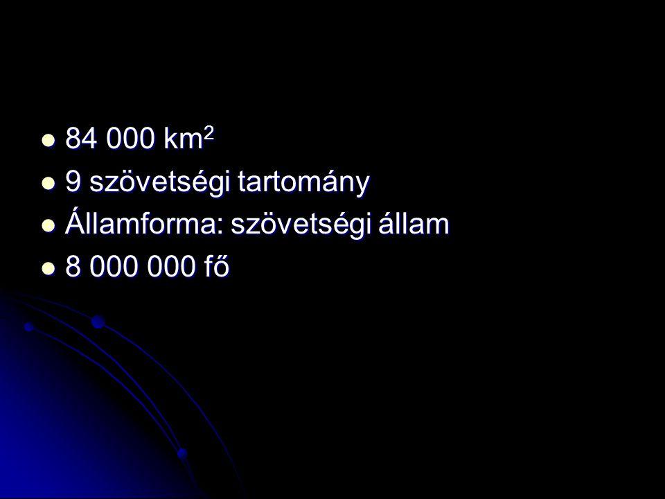 84 000 km2 9 szövetségi tartomány Államforma: szövetségi állam 8 000 000 fő