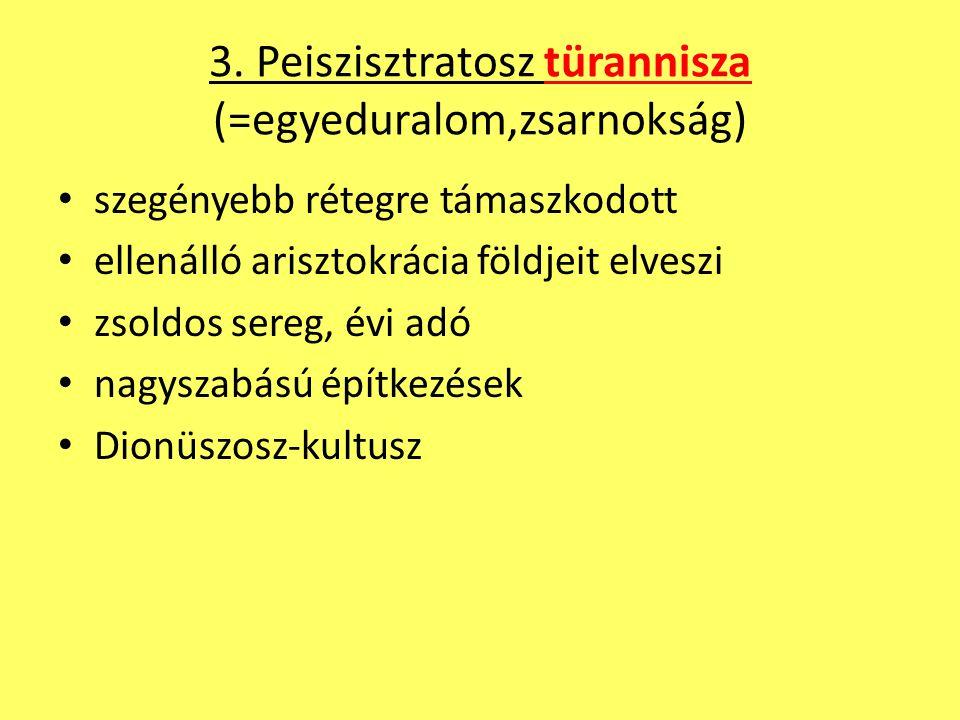 3. Peiszisztratosz türannisza (=egyeduralom,zsarnokság)