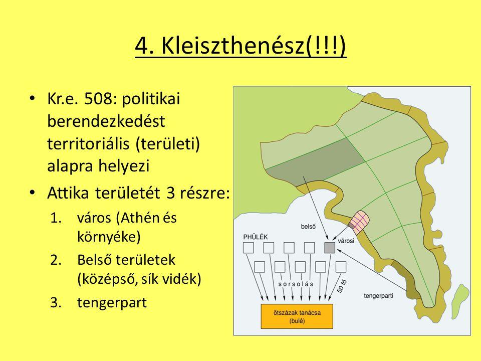 4. Kleiszthenész(!!!) Kr.e. 508: politikai berendezkedést territoriális (területi) alapra helyezi. Attika területét 3 részre: