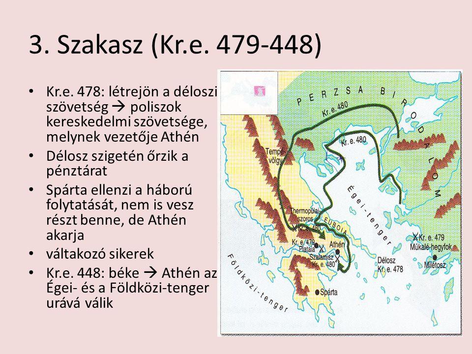 3. Szakasz (Kr.e. 479-448) Kr.e. 478: létrejön a déloszi szövetség  poliszok kereskedelmi szövetsége, melynek vezetője Athén.