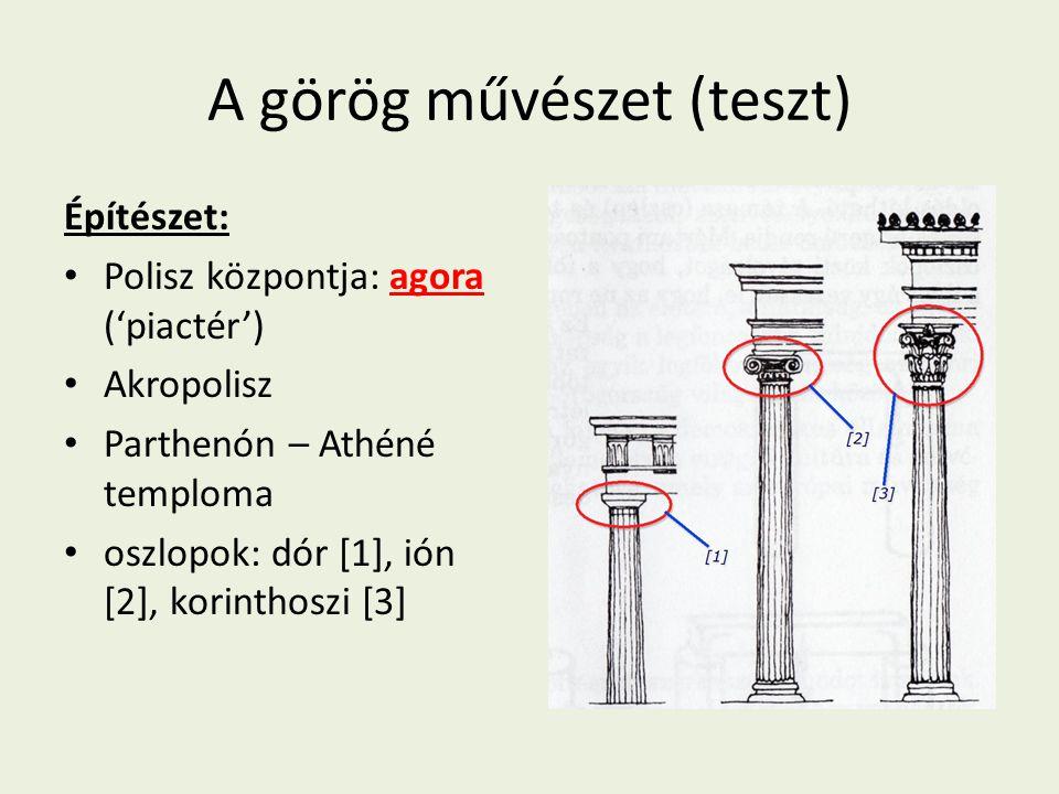 A görög művészet (teszt)