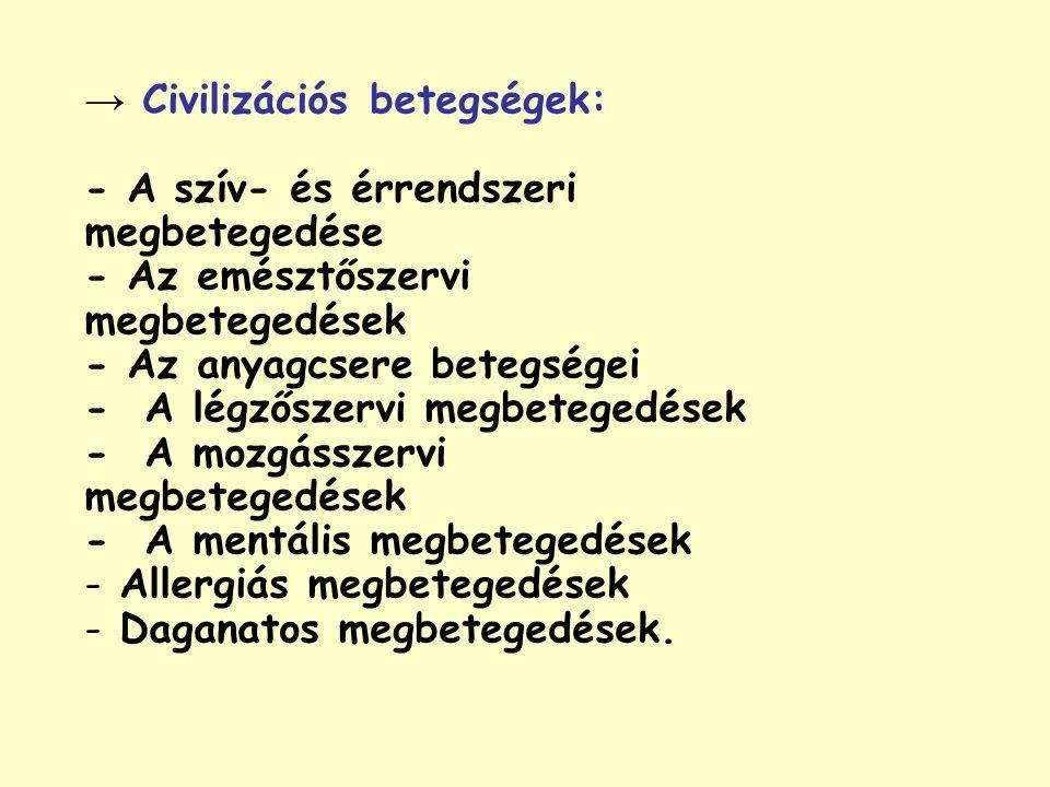 → Civilizációs betegségek: