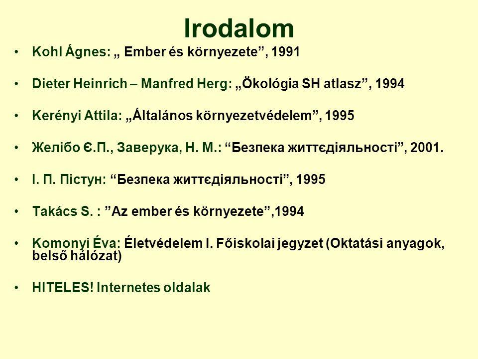 """Irodalom Kohl Ágnes: """" Ember és környezete , 1991"""