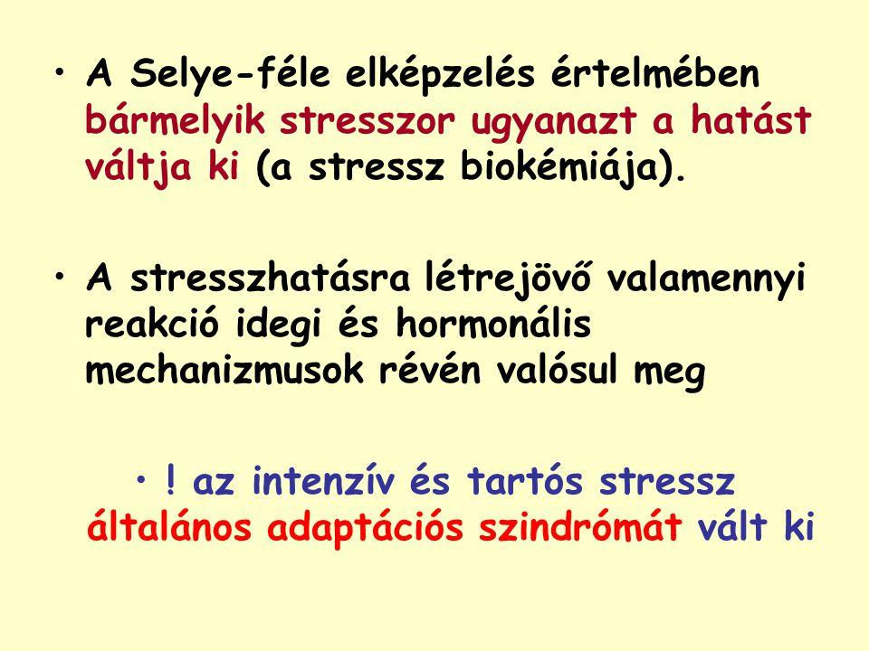 A Selye-féle elképzelés értelmében bármelyik stresszor ugyanazt a hatást váltja ki (a stressz biokémiája).