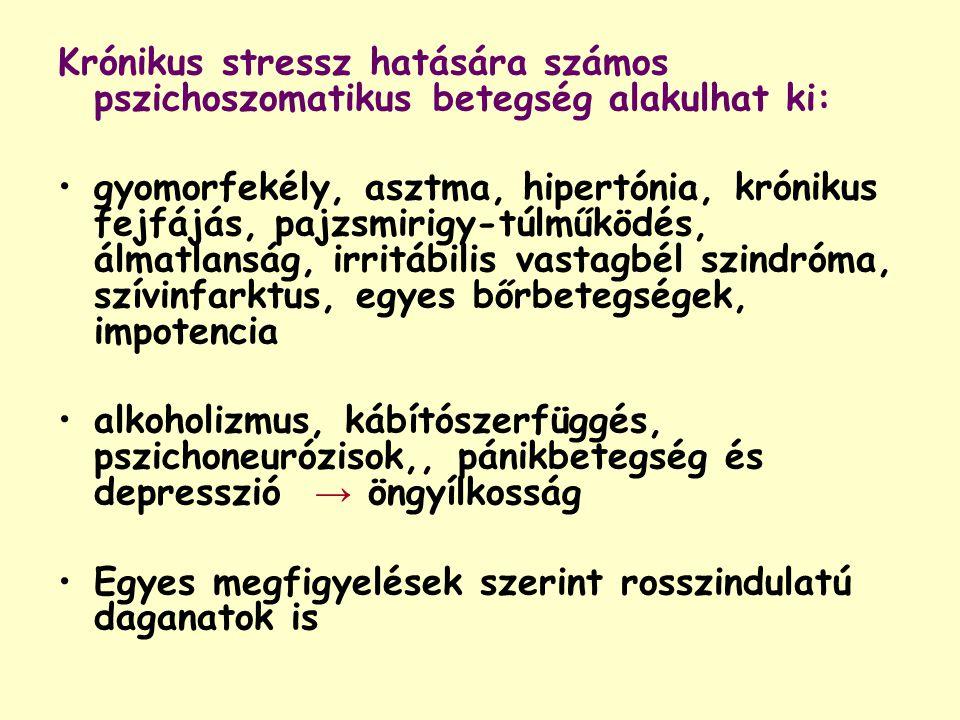 Krónikus stressz hatására számos pszichoszomatikus betegség alakulhat ki: