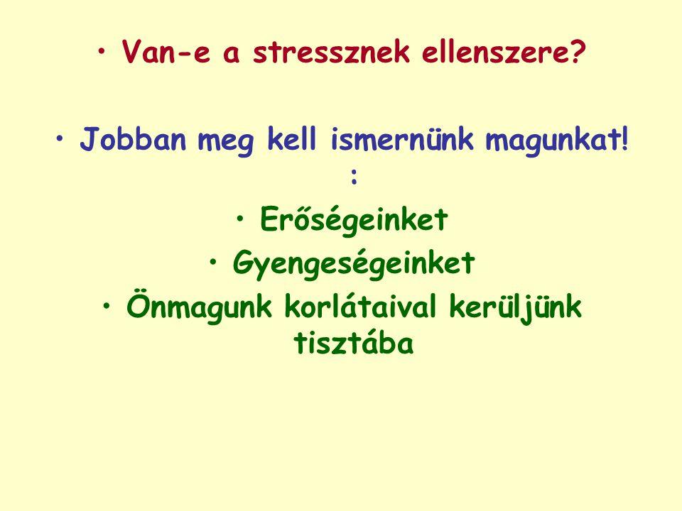 Van-e a stressznek ellenszere Jobban meg kell ismernünk magunkat! :