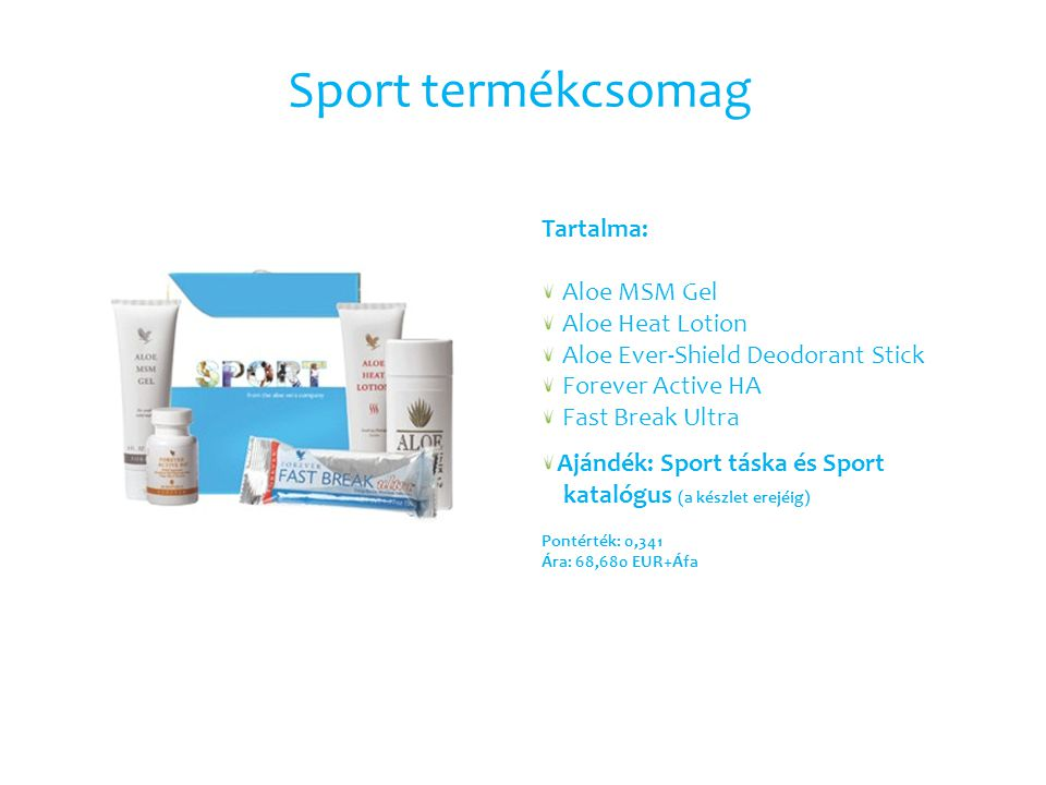 Sport termékcsomag Tartalma: Aloe MSM Gel Aloe Heat Lotion