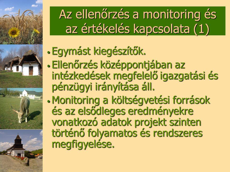 Az ellenőrzés a monitoring és az értékelés kapcsolata (1)