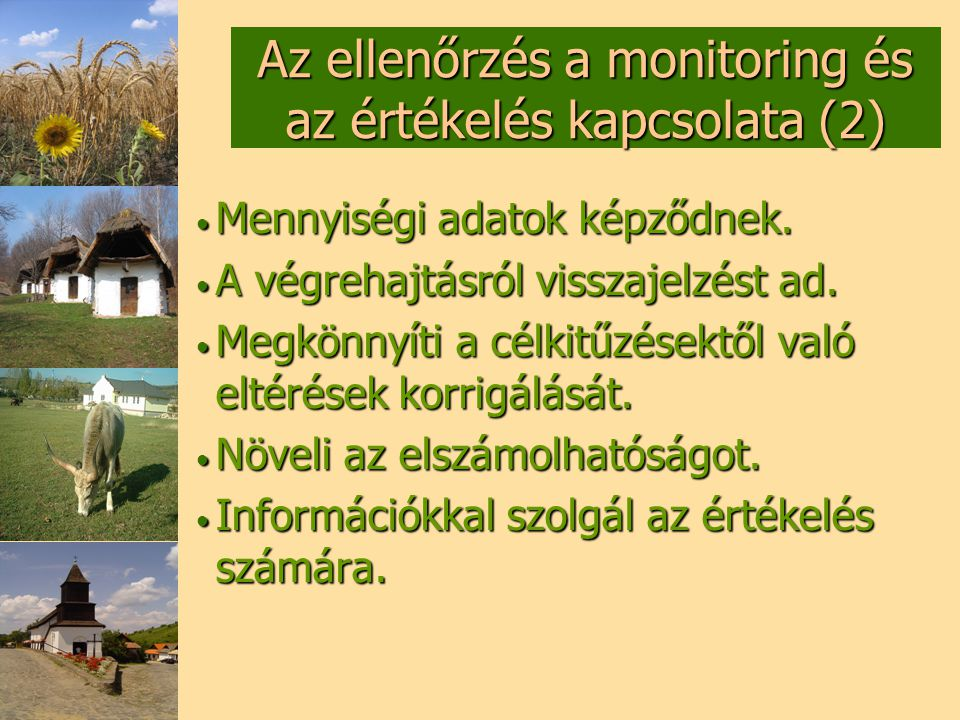 Az ellenőrzés a monitoring és az értékelés kapcsolata (2)