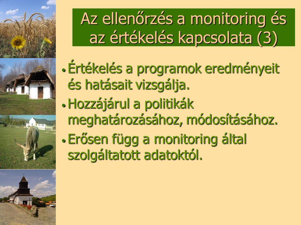 Az ellenőrzés a monitoring és az értékelés kapcsolata (3)