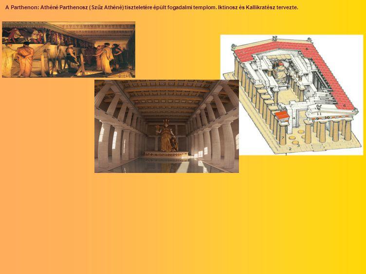 A Parthenon: Athéné Parthenosz (Szűz Athéné) tiszteletére épült fogadalmi templom.