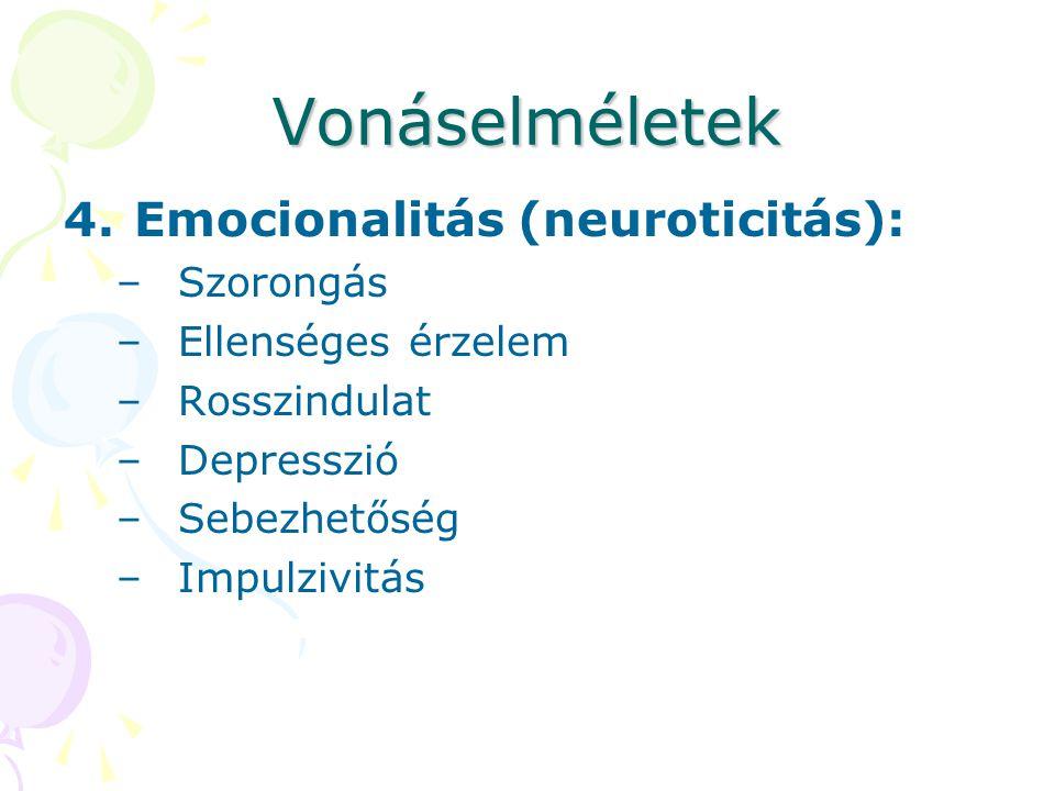 Vonáselméletek Emocionalitás (neuroticitás): Szorongás