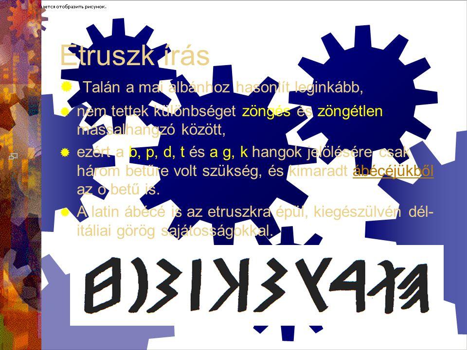 Etruszk írás Talán a mai albánhoz hasonlít leginkább,