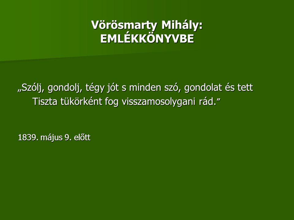 Vörösmarty Mihály: EMLÉKKÖNYVBE