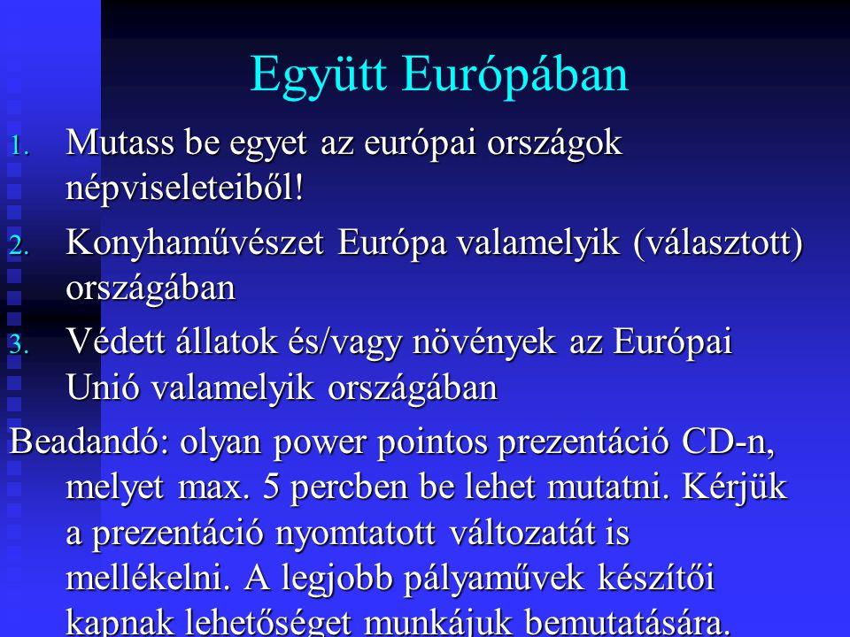 Együtt Európában Mutass be egyet az európai országok népviseleteiből!
