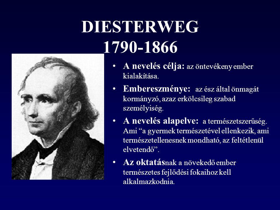 DIESTERWEG 1790-1866 A nevelés célja: az öntevékeny ember kialakítása.