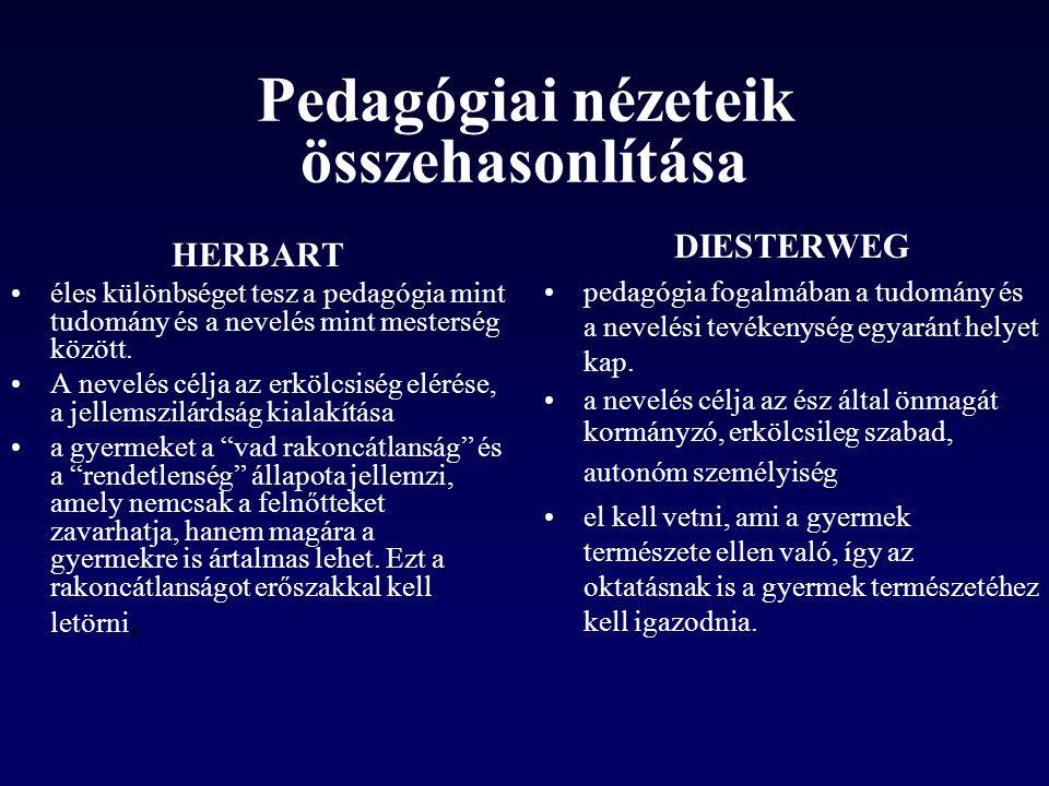 Pedagógiai nézeteik összehasonlítása