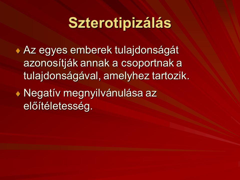 Szterotipizálás Az egyes emberek tulajdonságát azonosítják annak a csoportnak a tulajdonságával, amelyhez tartozik.