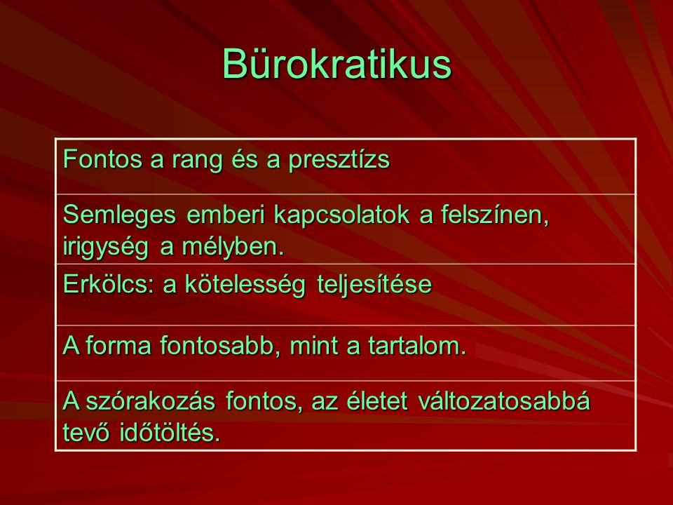 Bürokratikus Fontos a rang és a presztízs