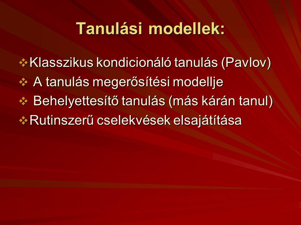 Tanulási modellek: Klasszikus kondicionáló tanulás (Pavlov)