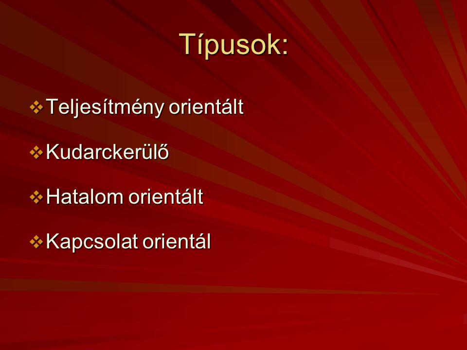 Típusok: Teljesítmény orientált Kudarckerülő Hatalom orientált