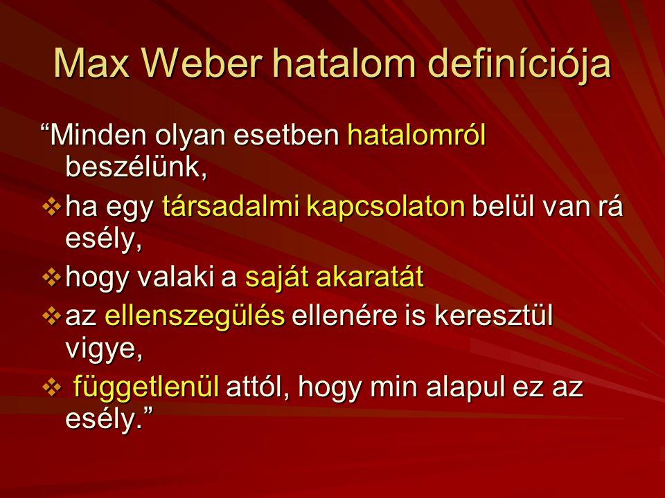 Max Weber hatalom definíciója