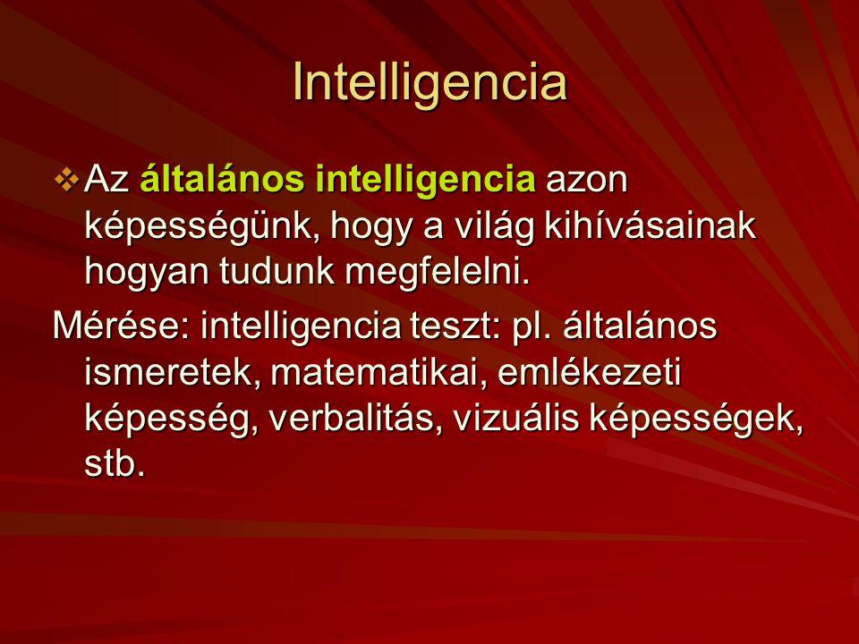 Intelligencia Az általános intelligencia azon képességünk, hogy a világ kihívásainak hogyan tudunk megfelelni.