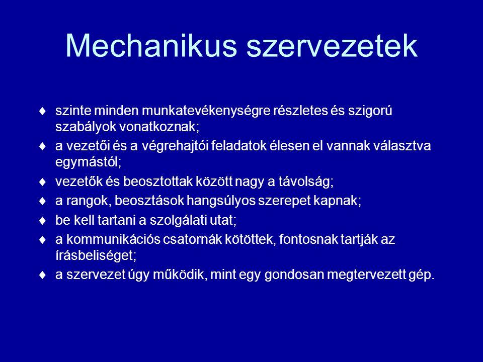 Mechanikus szervezetek