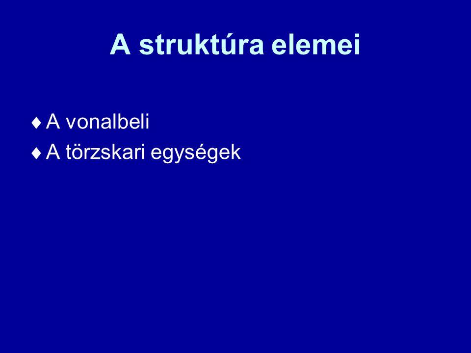 A struktúra elemei A vonalbeli A törzskari egységek