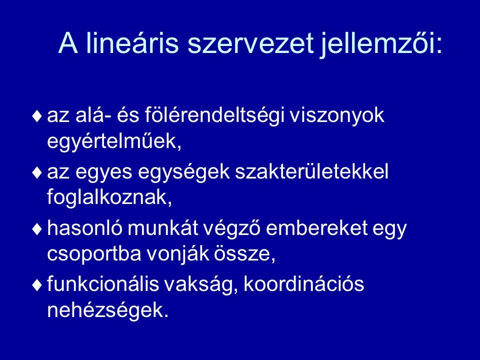 A lineáris szervezet jellemzői: