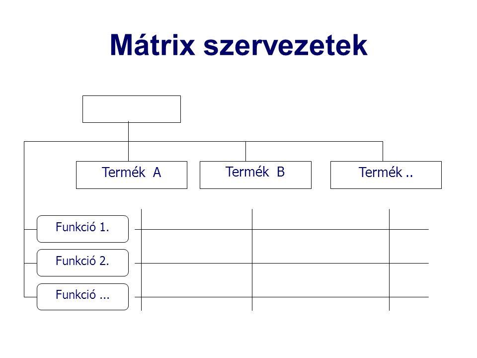 Mátrix szervezetek Termék .. Termék A Termék B Funkció 1. Funkció 2.