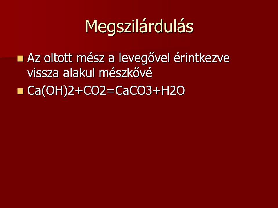 Megszilárdulás Az oltott mész a levegővel érintkezve vissza alakul mészkővé Ca(OH)2+CO2=CaCO3+H2O
