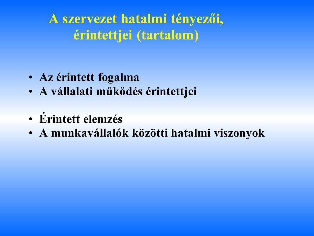 A szervezet hatalmi tényezői, érintettjei (tartalom)