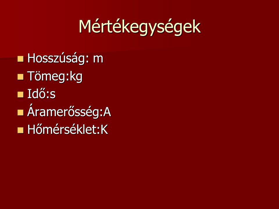 Mértékegységek Hosszúság: m Tömeg:kg Idő:s Áramerősség:A Hőmérséklet:K