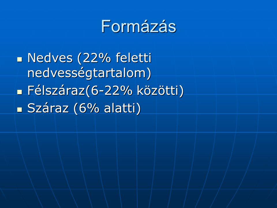 Formázás Nedves (22% feletti nedvességtartalom)