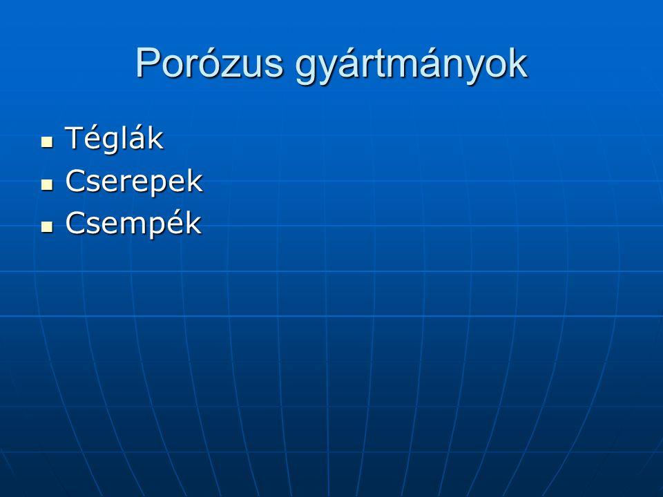 Porózus gyártmányok Téglák Cserepek Csempék