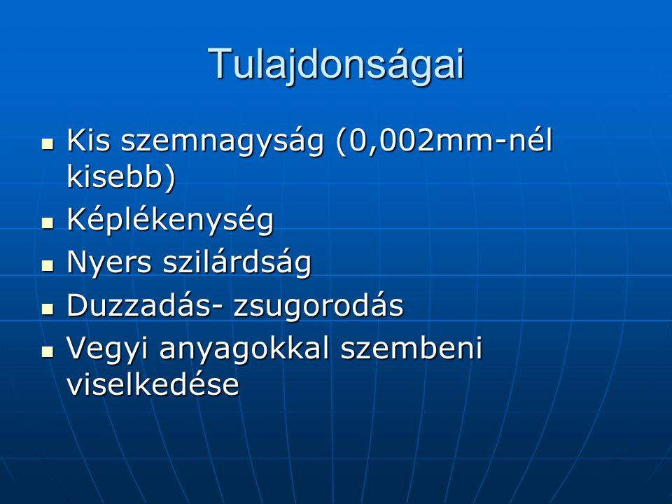 Tulajdonságai Kis szemnagyság (0,002mm-nél kisebb) Képlékenység