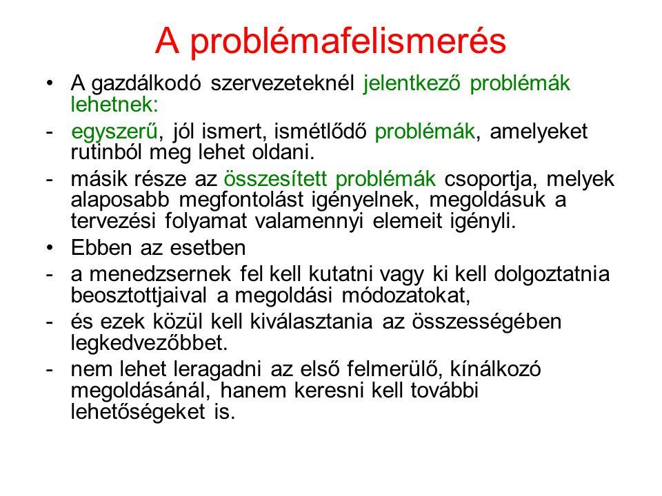 A problémafelismerés A gazdálkodó szervezeteknél jelentkező problémák lehetnek: