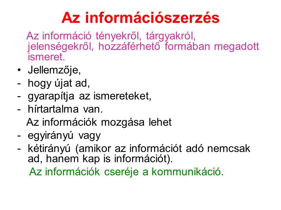 Az információszerzés Az információ tényekről, tárgyakról, jelenségekről, hozzáférhető formában megadott ismeret.