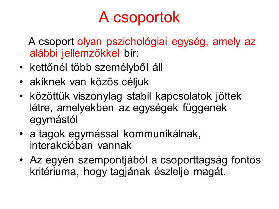 A csoportok A csoport olyan pszichológiai egység, amely az alábbi jellemzőkkel bír: kettőnél több személyből áll.