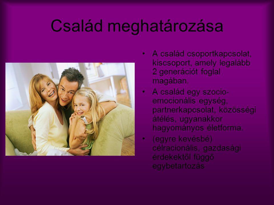 Család meghatározása A család csoportkapcsolat, kiscsoport, amely legalább 2 generációt foglal magában.
