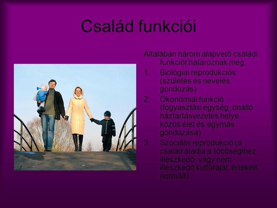 Család funkciói Általában három alapvető családi funkciót határoznak meg: Biológiai reprodukciós (születés és nevelés, gondozás)
