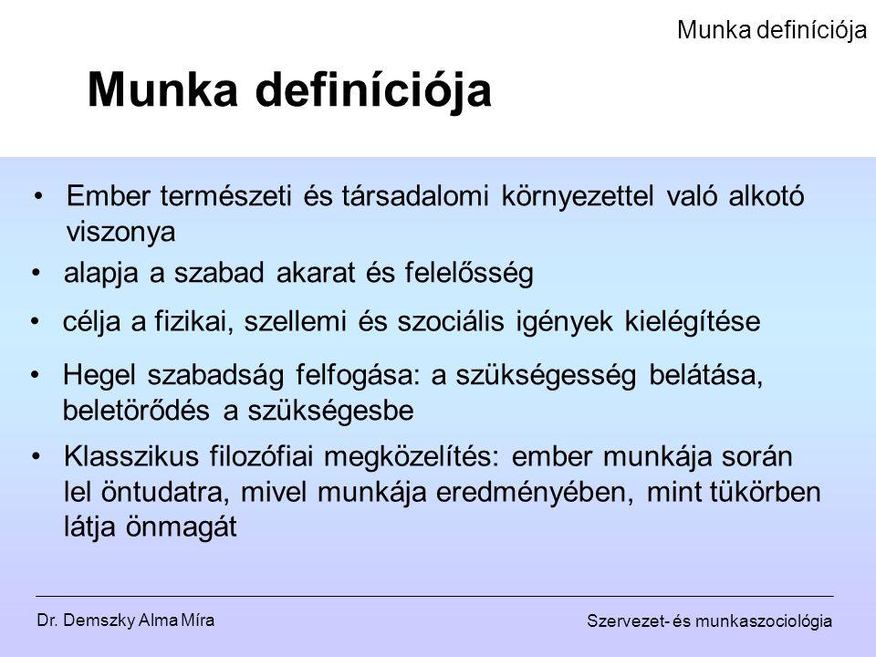 Munka definíciója Munka definíciója. Ember természeti és társadalomi környezettel való alkotó viszonya.