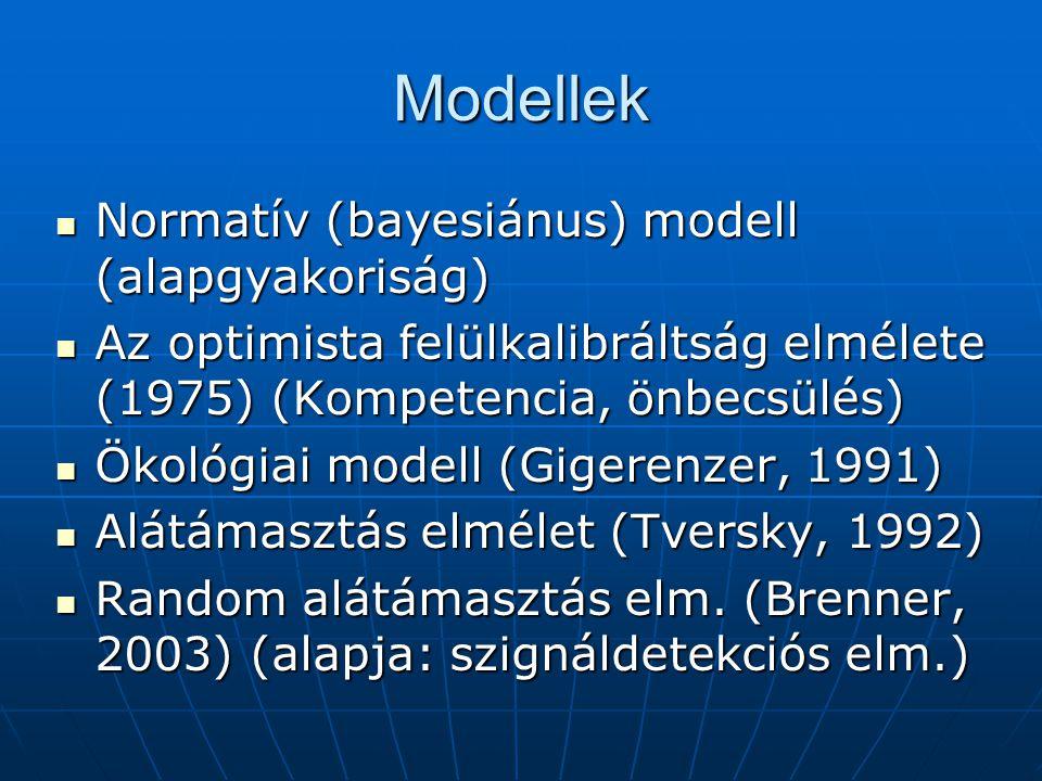 Modellek Normatív (bayesiánus) modell (alapgyakoriság)