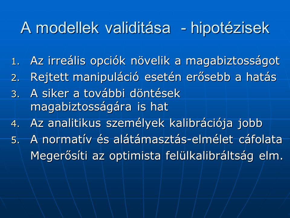 A modellek validitása - hipotézisek