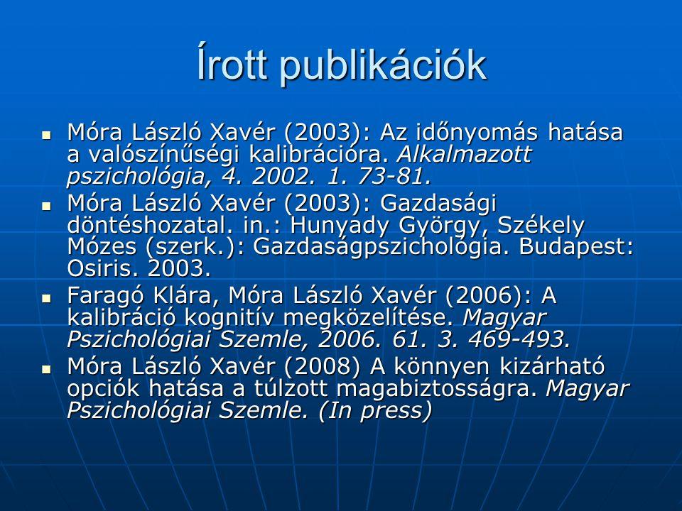 Írott publikációk Móra László Xavér (2003): Az időnyomás hatása a valószínűségi kalibrációra. Alkalmazott pszichológia, 4. 2002. 1. 73-81.