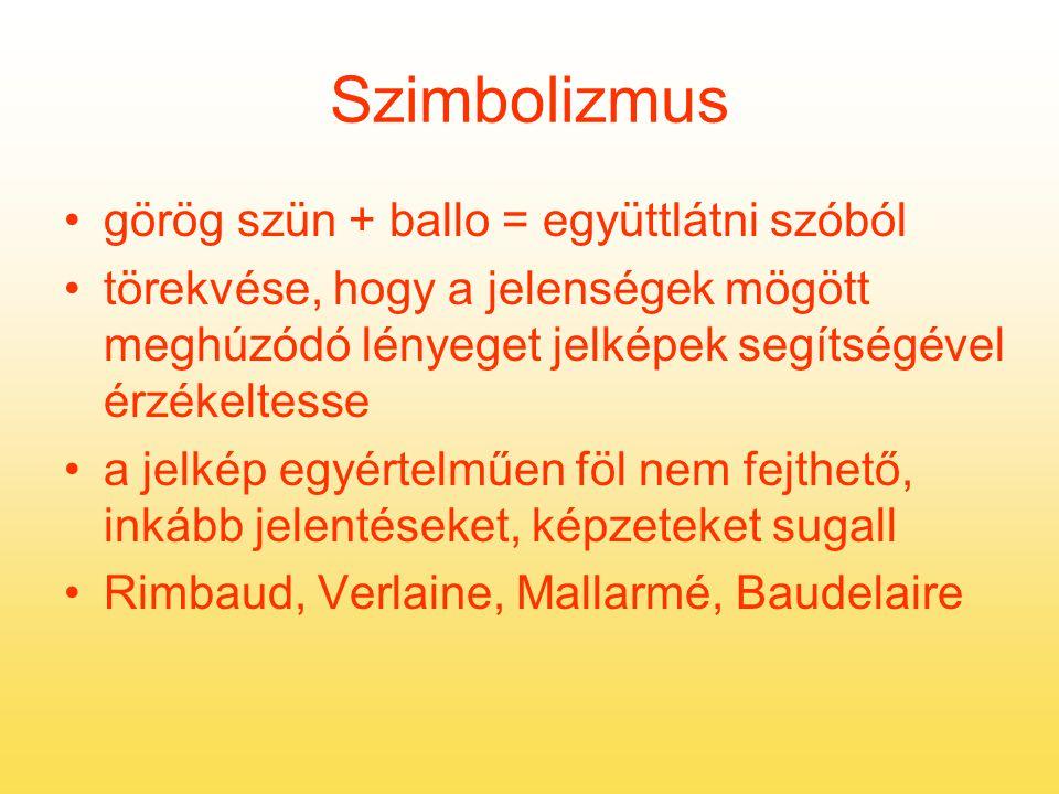 Szimbolizmus görög szün + ballo = együttlátni szóból